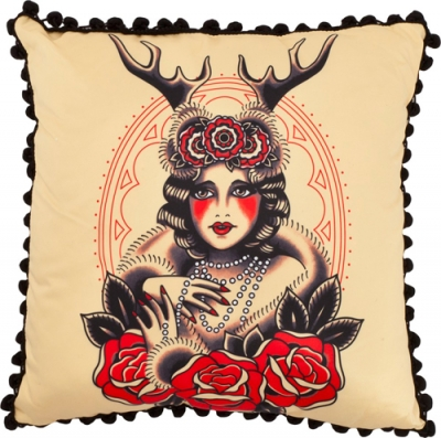 PW034-coussin-tattoo-deco-tatouage-marque-sourpuss-lady-of-the-woods-
